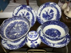 A selection of blue and white china