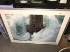 A large picture of a Lighthouse in Rough Seas ****Condition report**** Size is