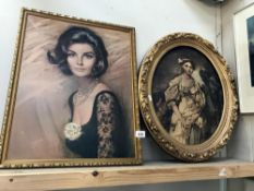 A framed picture of a lady signed Loius Halones & an oval framed picture of a lady