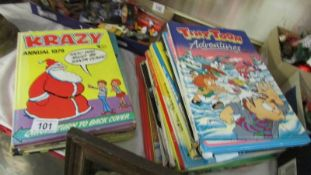 A mixed lot of children's annuals including Blue Peter.