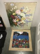 A 20th century oil on board, Dutch style of mixed flowers together with an acrylic on board,