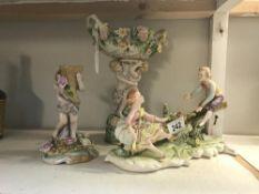 3 pieces of Continental porcelain,