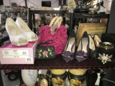 A quantity of haberdashery including handbags and shoes
