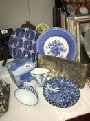 A quantity of blue and white china etc.