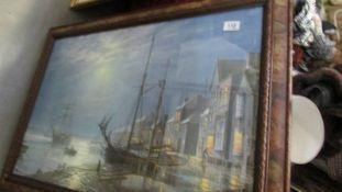 A framed and glazed harbour scene signed Roger Dessouter.
