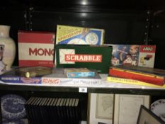 A mixed lot of games including Monopoly, Scrabble 7 Lego etc.