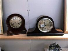 2 Edwardian mahogany mantle clocks A/F