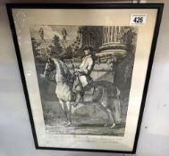A framed & glazed French print of a gentleman on horse