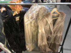 3 fur coats.