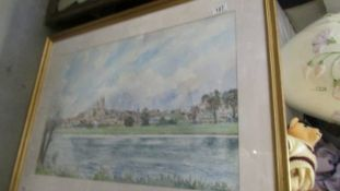 A framed and glazed watercolour signed Michael Gaymonk.