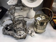 A quantity of silver plate including a 3 section bottle holder