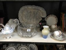 A large blue 7 white platter, large cut glass bowl & tea ware etc.