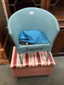 A wicker child's chair & wicker ottoman