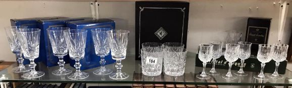 A quantity of cut glass crystal glasses (boxed) ****Condition report**** All in good