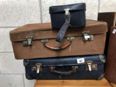 2 old suitcases & a vanity case