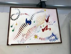 An abstract framed watercolour signed A.Smith '91.