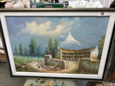 An oil on canvas South American village scene signed Paagueimoncayo.