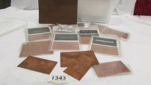 An excess of 60 early 20th century chemist and pharmacist medicinal copper printing plates.