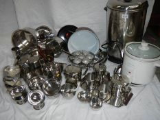 A fantastic array of stainless steel pans, bowls etc including a Swan urn.
