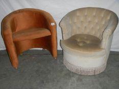 An Edwardian tub chair and a modern tub chair.