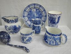 7 pieces of blue and white china.