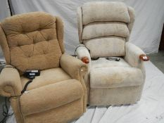 2 Celebrity single reclining chairs with controls. (one in need of recovering).