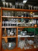 A large lot of assorted glass ware including decanter, Babycham glasses, cut glass etc.