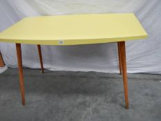 A good pine legged melamine topped 1960's style dining table, 121 x 75 x 76 cm.