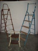 3 metal step ladders, 2 x 3 step and 1 x 2 step.