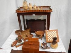 An old inlaid tray, chess set, wooden boxes, animals etc.
