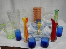 A mixed lot of coloured and other glass ware, in good condition.