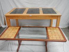 A 3 piece marble top pine table (L 140 x W 74 x H 80 cm) and a glass top coffee table (138 x 57 cm).