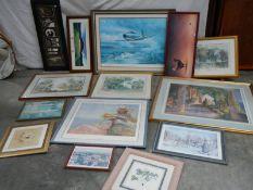 10 good framed and glazed prints.