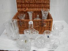 A picnic basket and a mixed lot of good cut glass.