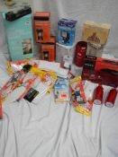 A large lot of miscellaneous items including DVD player, Kettle, Quilt etc.