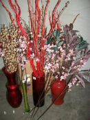 A dried flower collection, 2 glass and four coloured.