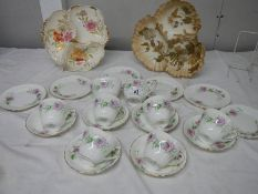 A Limoges Hors d'ouvre dish and one other together with a 20 piece Adderley bone china tea set.