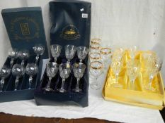3 good sets of drinking glasses including set of 6 but only 5 are gilded.