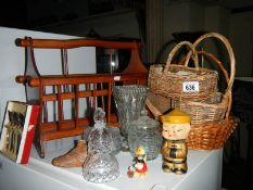 A mixed lot of household goods including some fine crystal, wicker baskets and a nodding duck.