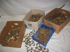 A good collection of old brass bed parts.