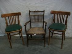 2 Bentwood chairs and an Edwardian inlaid spindle back chair.