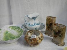 A jug and basin set, a cabbage dish, 2 vases and a bowl all in good condition.