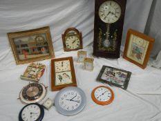 14 assorted wall clocks.