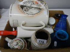 A mixed lot of interesting ceramics including Poole, Coalport, art pottery, collector's plate,