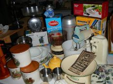 A mixed lot of kitchen ware including scales, mixer etc.