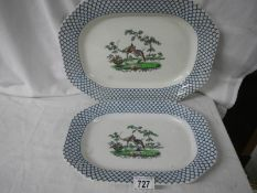 2 Copeland platters in good condition, 37 x 32 cm.