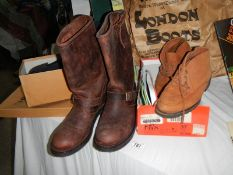 A new with tags genuine Seidra size 9 cowboy boots and 3 other pairs of boxed shoes including size