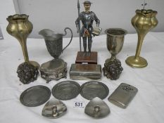 A mixed lot of EPNS including trinket box, lions, spill vases, Don Quixote figure,