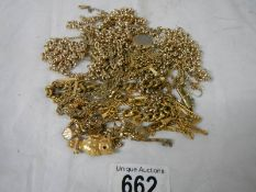A mixed lot of yellow metal jewellery, chains etc.