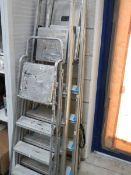 4 aluminium step ladders.